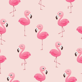 Beautiful seamless vector tropical pattern with pink flamingos