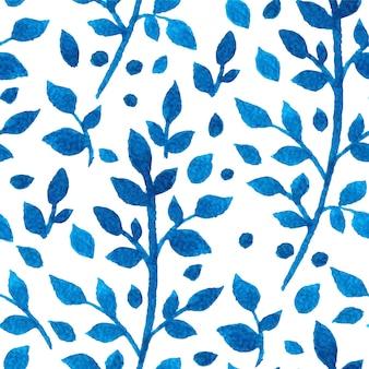 水彩画の枝と葉と美しいシームレスな白と青の背景