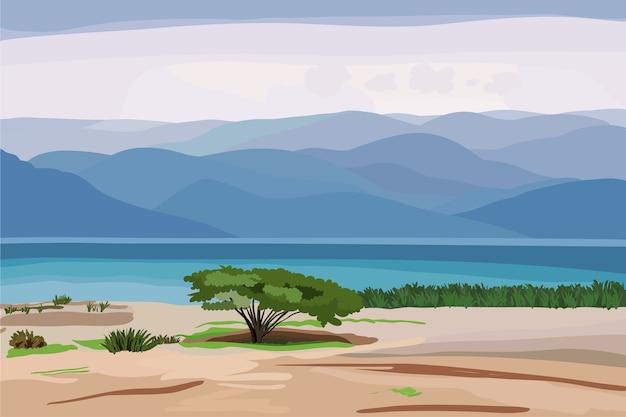Красивый морской пейзаж в пастельных тонах с одиноким деревом на берегу и высокими горами вдали