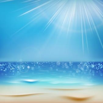 美しいシーサイドビューテンプレート。砂の晴れた日。夏の休日の背景。