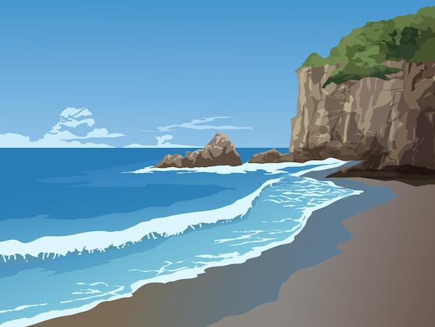 Красивое побережье со скалами и обрывом