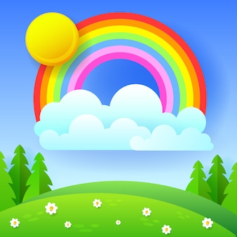 Beautiful seasonal background with bright rainbow, flowers in grass .