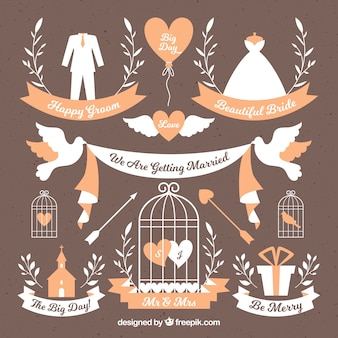 Beautiful selection of decorative labels with wedding elements