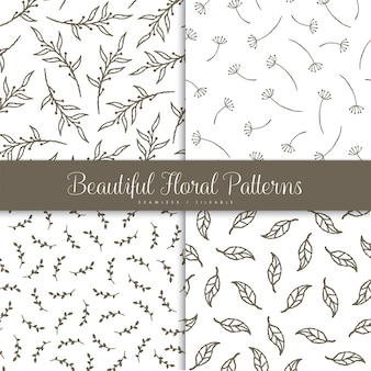Beautiful set of floral seamless pattern