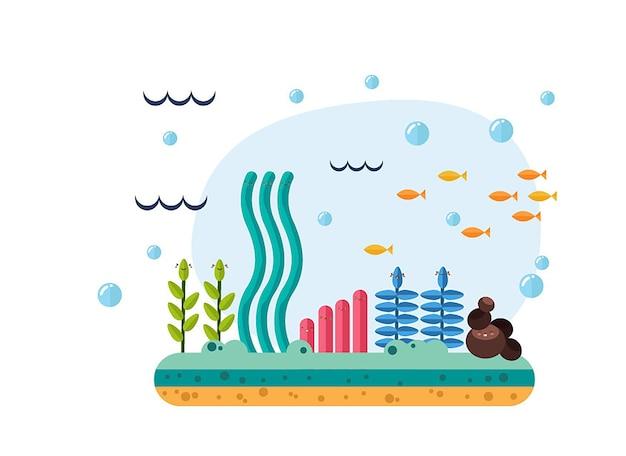 水中世界の要素の美しいセット