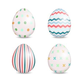 귀여운 패턴으로 4 개의 부활절 달걀의 아름다운 세트