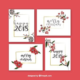 꽃과 함께 새 해 인사 카드의 아름 다운 세트
