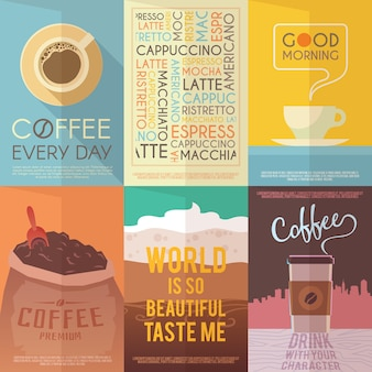 Красивый набор винтажных постеров для ваших проектов