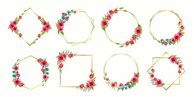 結婚式のモノグラムロゴとブランディングロゴデザインの水彩花フレームの美しいセット