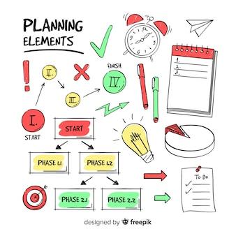 Bella serie di elementi di pianificazione