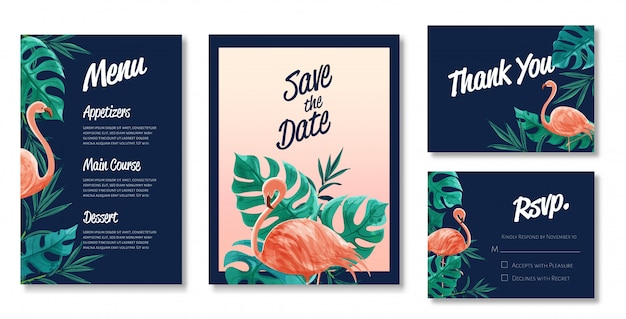 Beautiful set of watercolor wedding card templates. theme of flamingo and wild leaves.