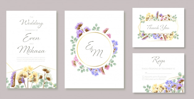 Beautiful set of wedding card templates. decorated with wild leaves in green theme.