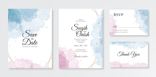 Beautiful set of wedding invitation templates with watercolor splashes