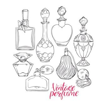 さまざまなスケッチの女性の香水瓶が付いている美しいセット。手描きイラスト