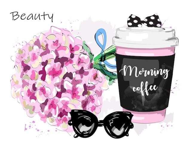 コーヒーカップの花とサングラスの美しいセット
