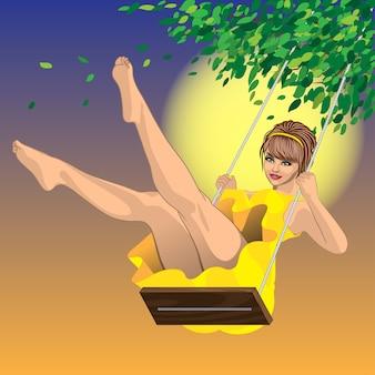 Красивая сексуальная девушка в желтом платье на качелях и голубом небе