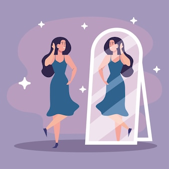 Beautiful sexy girl looking in the mirror with blue dress illustration design
