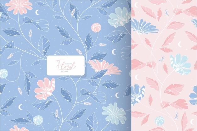 美しいぼろぼろのシックな青とピンクの花柄
