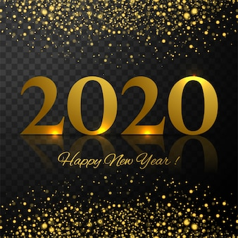 Beautiful shiny glitters 2020 new year greeting card template