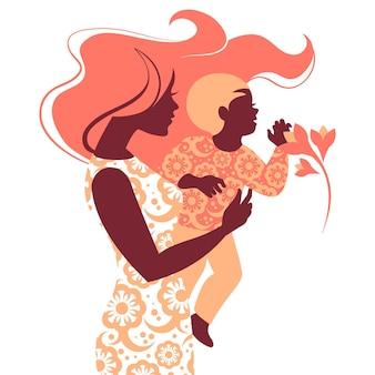 엄마와 아기의 아름다운 실루엣. 해피 어머니의 날 카드