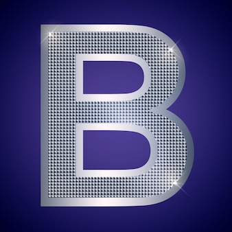 Beautiful silver letter b with brilliants. vector font, alphabet typeface for logo or icon eps10