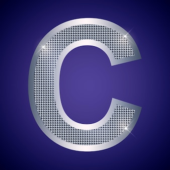 Beautiful silver letter c with brilliants. vector font, alphabet typeface for logo or icon eps10