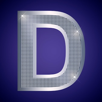 Beautiful silver letter d with brilliants. vector font, alphabet typeface for logo or icon eps10