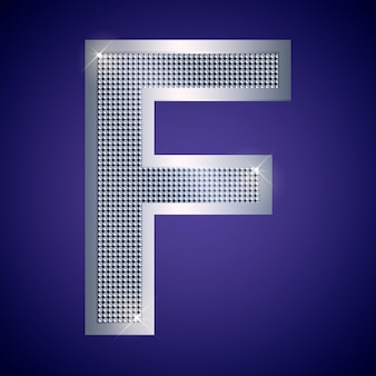 Beautiful silver letter f with brilliants. vector font, alphabet typeface for logo or icon eps10