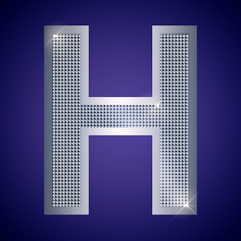 Beautiful silver letter h with brilliants. vector font, alphabet typeface for logo or icon eps10