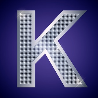 Beautiful silver letter k with brilliants. vector font, alphabet typeface for logo or icon eps10
