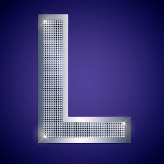 Beautiful silver letter l with brilliants. vector font, alphabet typeface for logo or icon eps10
