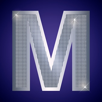Beautiful silver letter m with brilliants. vector font, alphabet typeface for logo or icon eps10