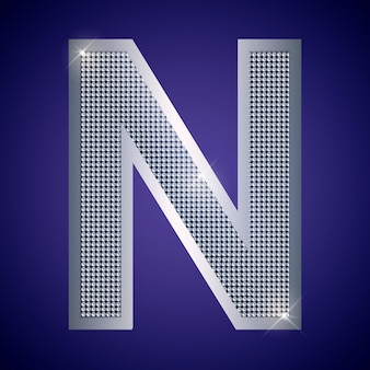 Beautiful silver letter n with brilliants. vector font, alphabet typeface for logo or icon eps10