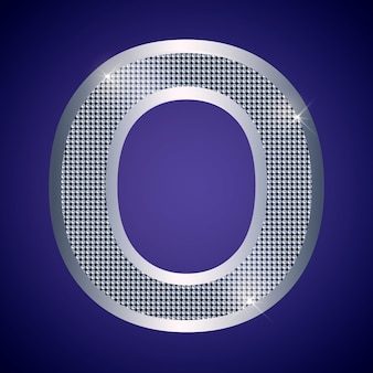 Beautiful silver letter o with brilliants. vector font, alphabet typeface for logo or icon eps10