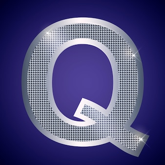 Beautiful silver letter q with brilliants. vector font, alphabet typeface for logo or icon eps10