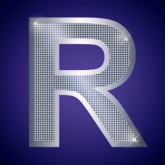Beautiful silver letter r with brilliants. vector font, alphabet typeface for logo or icon eps10