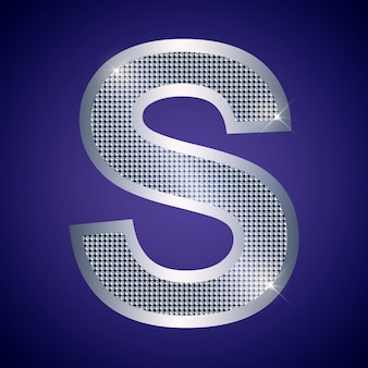 Beautiful silver letter s with brilliants. vector font, alphabet typeface for logo or icon eps10