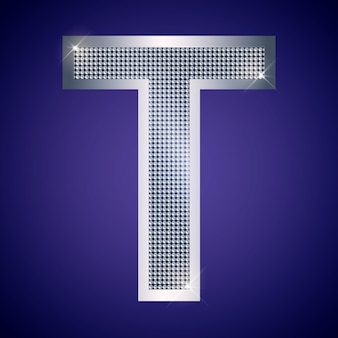 Beautiful silver letter t with brilliants. vector font, alphabet typeface for logo or icon eps10