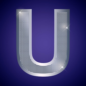 Beautiful silver letter u with brilliants. vector font, alphabet typeface for logo or icon eps10