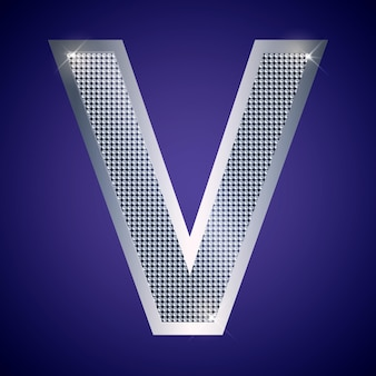 Beautiful silver letter v with brilliants. vector font, alphabet typeface for logo or icon eps10