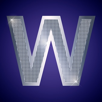 Beautiful silver letter w with brilliants. vector font, alphabet typeface for logo or icon eps10