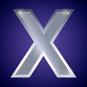 Beautiful silver letter x with brilliants. vector font, alphabet typeface for logo or icon eps10