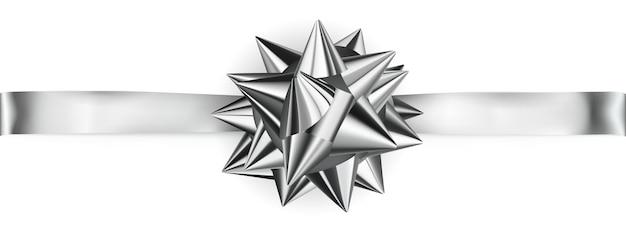 Красивый серебряный блестящий бант с горизонтальной лентой с тенью