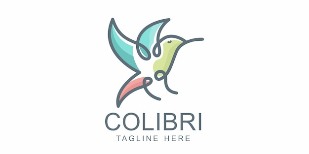 Beautiful simple bird colibri logo design