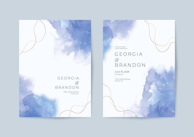 美しいシンプルな青い水彩の結婚式の招待状のテンプレート
