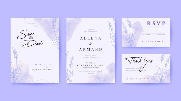 Beautiful and simple wedding invitation set with white backgorund