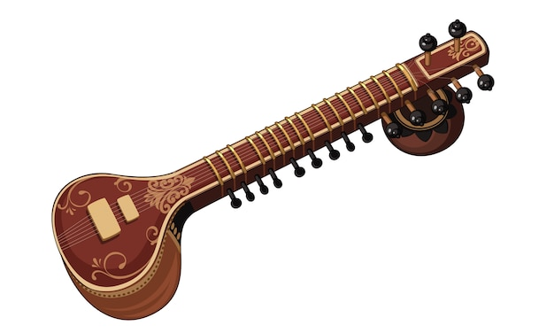 Beautiful sitar classical music instrument
