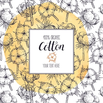 Beautiful sketch frame with cotton on a yellow watercolor background. hand-drawn illustration