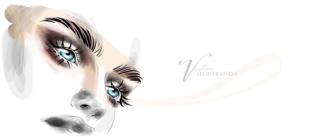 Красивый эскиз макияжа глаз яркими тенями