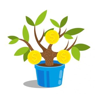 Красивое маленькое зеленое дерево бонсай в горшке, на котором растут золотые монеты долларов. дерево с запуском сокровища кредита банка финансов денег. идея современного дизайна иллюстрации шаржа стиля плоского творческая.